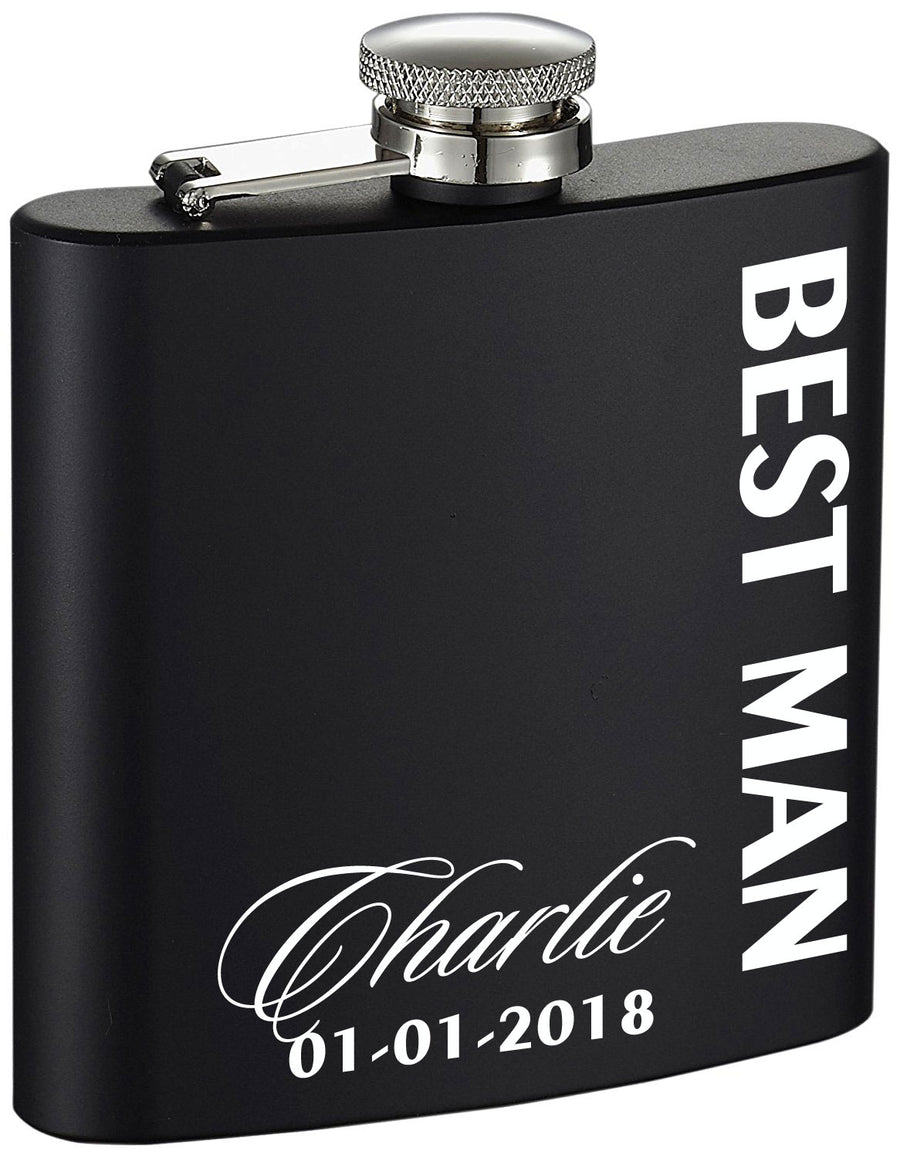 Personalized Best Man Side Etched Black 6oz Drinking Flask
