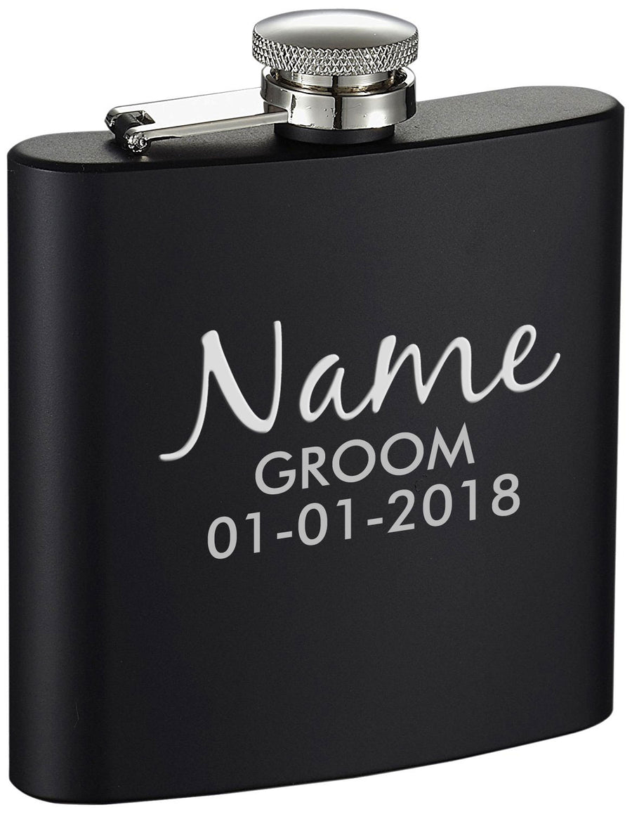 Personalized Wedding Groom Etched Black 6oz Drinking Flask