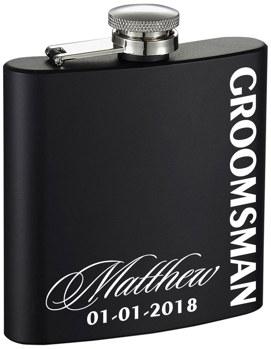 Personalized Groomsman Side Etched Black 6oz Drinking Flask
