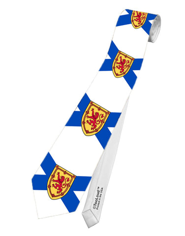 Nova Scotia Flag Printed White Necktie All Over Print