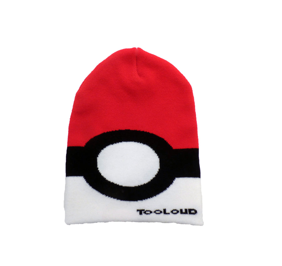 Sporty Red and White Circle Adult Knit Beanie Cap Hat All Over Print