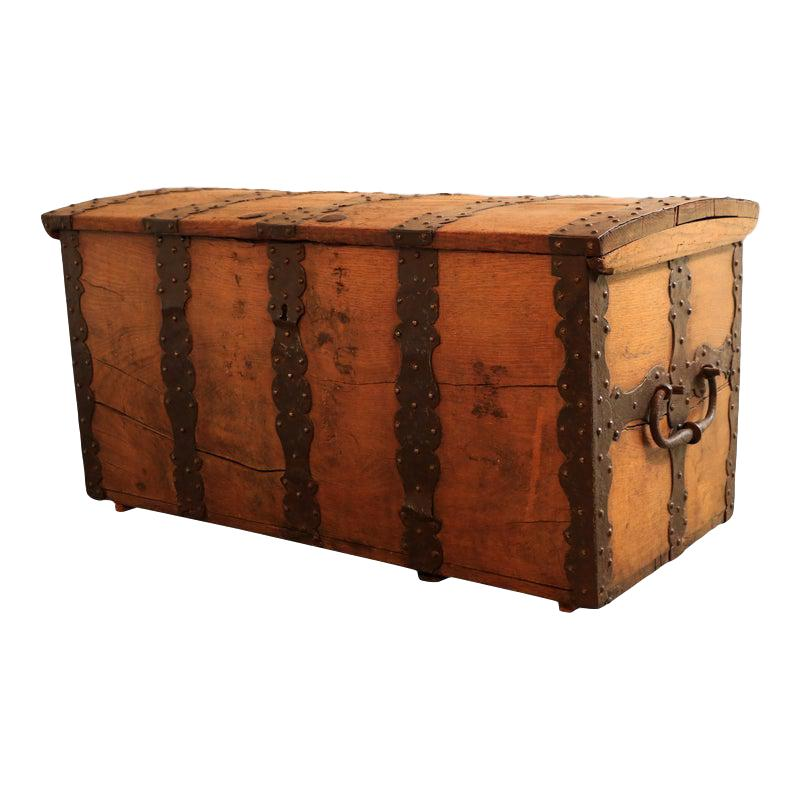 18th Century Oak and Wrought Iron Trunk