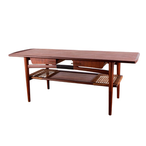1960s Scandinavian Modern Teak and Cane Coffee Table