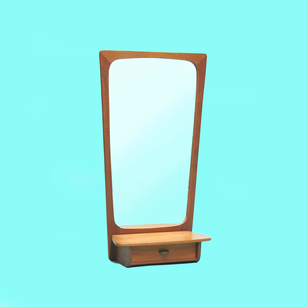 1960s Wall Mounted Teak Mirror With Storage