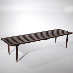 Slated Wooden Bench Dark
