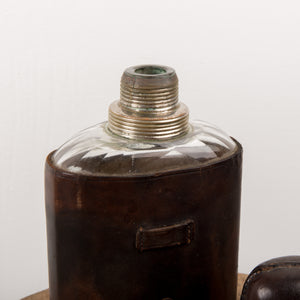LEATHER & GLASS FLASK  Chrome Cup Original Cork in Pewter Cap Textured Brown Leather Jacket 1920's