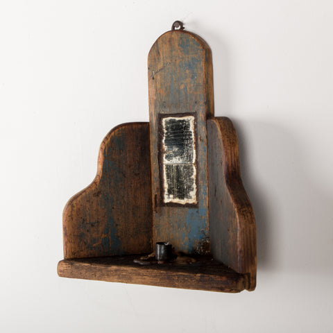 Primitive New England candle holder with a mirror inlay