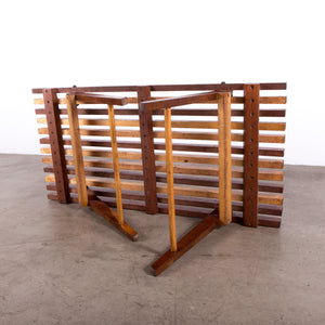 Multi wood stained slat bench