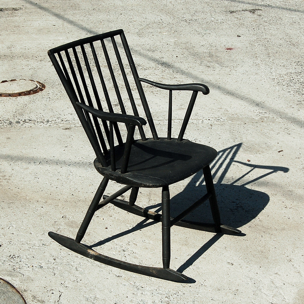 Period New England Country  Windsor Rocker In Original Black Paint - circa 1780 - 1820