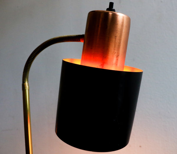 Mid Century Black Shade Copper Tail Desk lamp