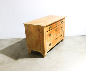 Key Lock Oak Midcentury Dresser w/ Aged copper accent handles