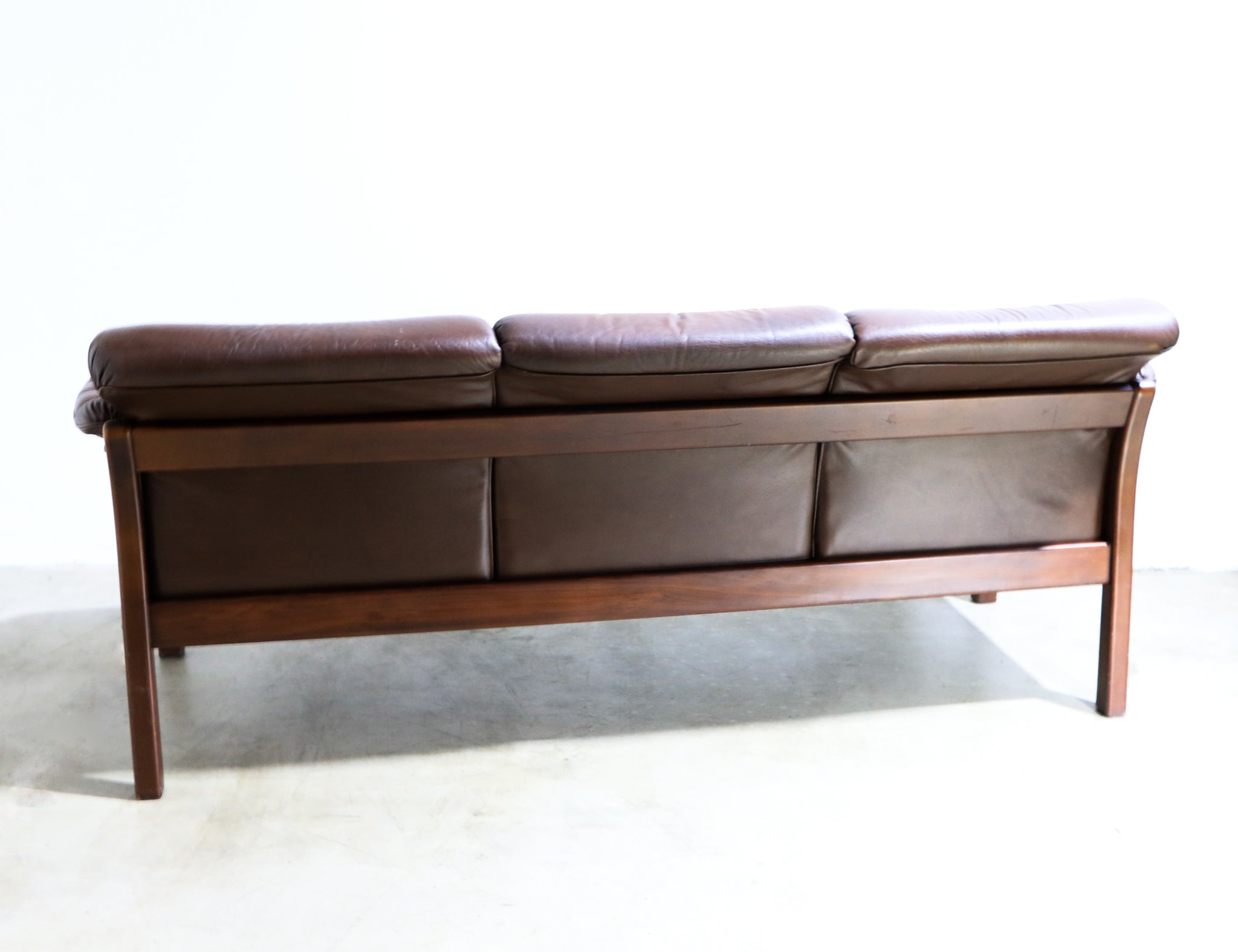 Leather upholstered Dark Brown Sofa