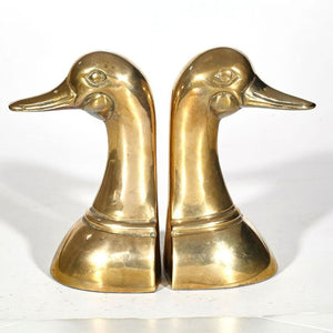 Brass Duck Head Book Ends