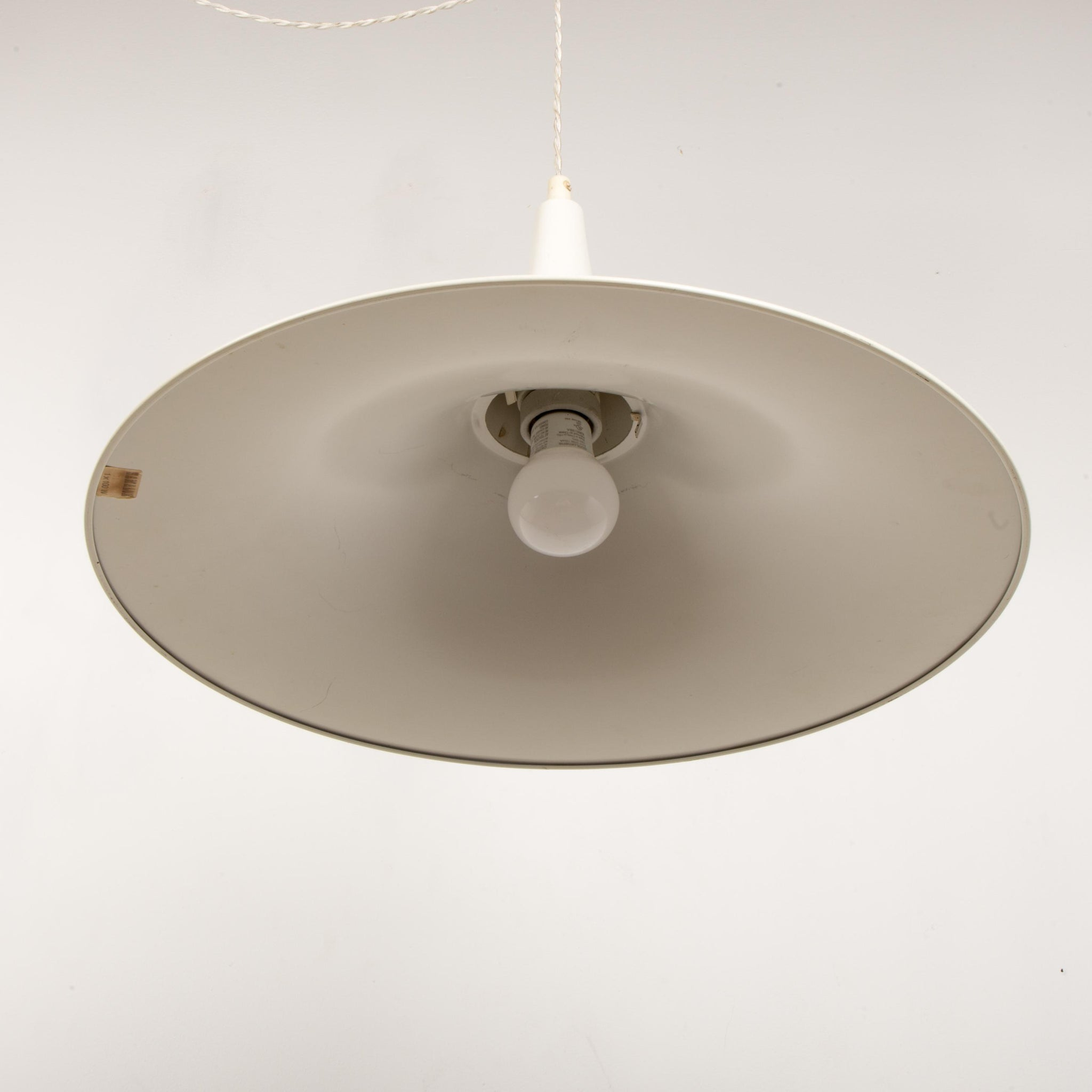 Danish White Fluted Pendant Lamp