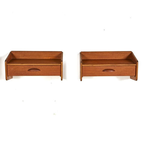 Pair of Danish Mid Century Teak Floating Shelves