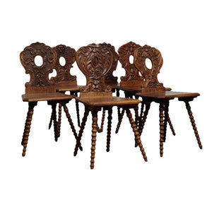 Italian Renaissance Revival Hall Chairs - Set of 6