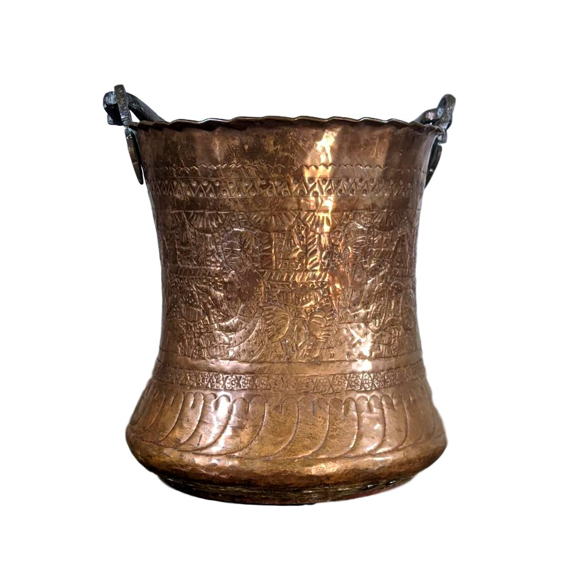 Large Safavid Etched Copper Bucket, Persia, 18th Century