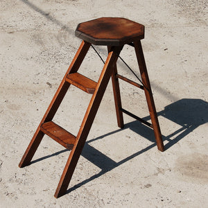 Industrial 19th Century Folding Step Ladder / Stool