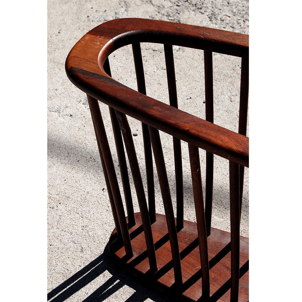Commercial Size Mid Century Magazine Rack in Teak