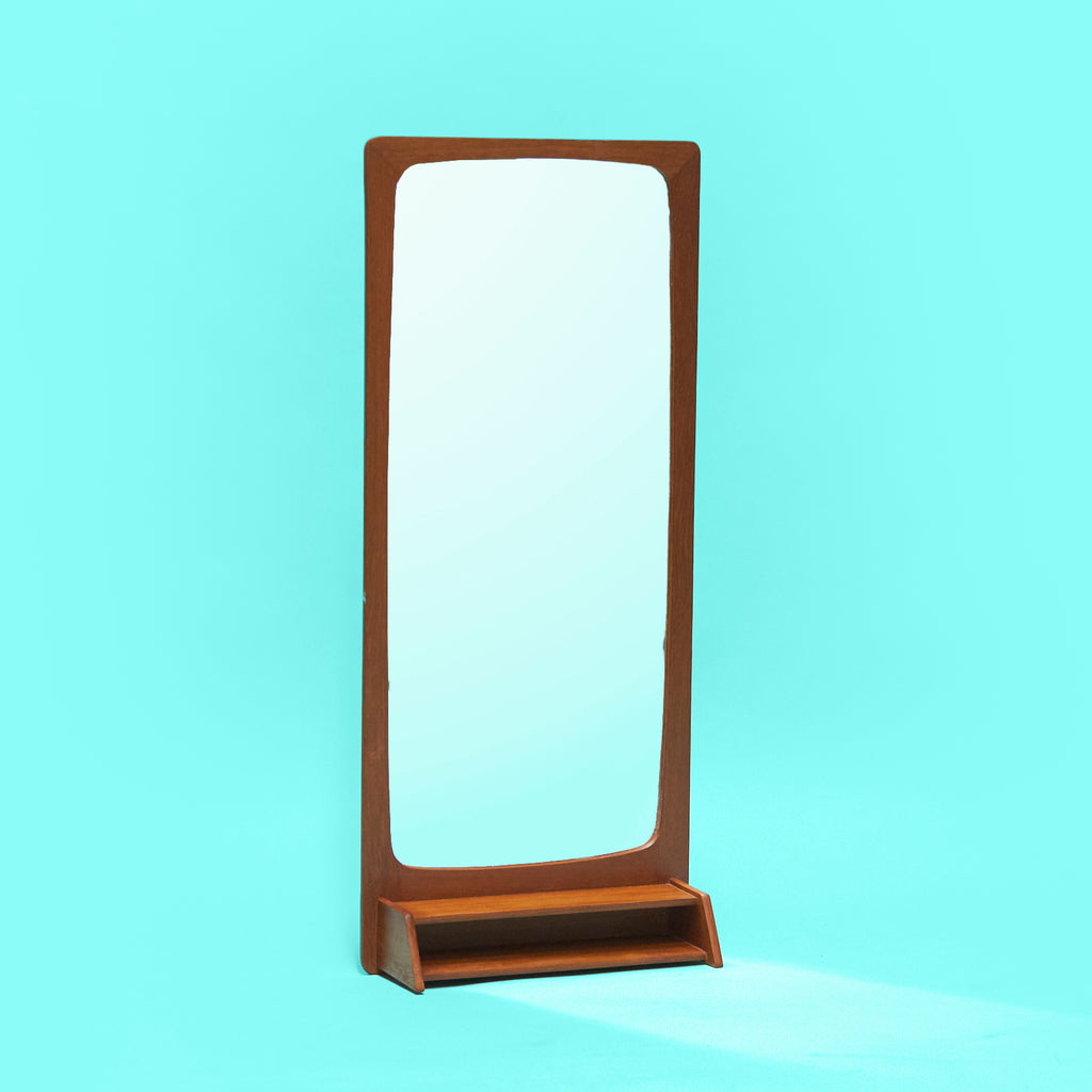 Mid-century Danish mirror with petite shelf in teak