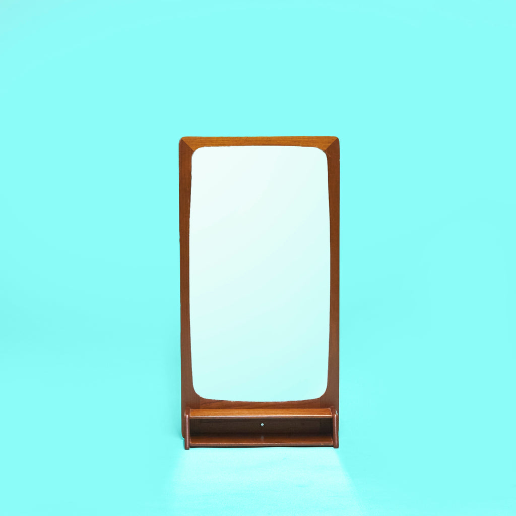 Danish Mid-Century Mirror with Teak Shelf