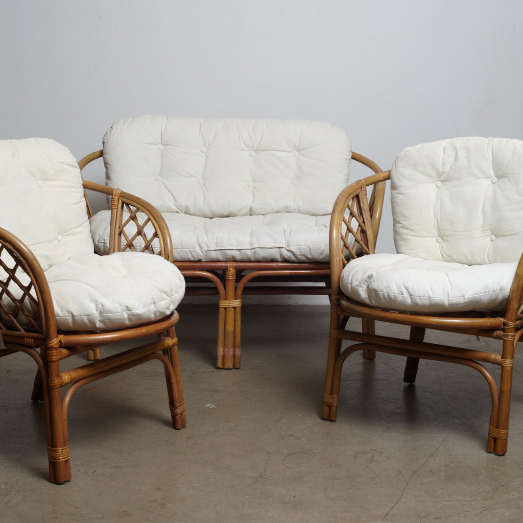 Danish Bamboo and Wicker Lounge Chairs-Set of 3