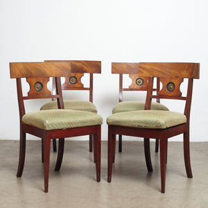 A set of four Danish Empire 19th century mahogany side chairs