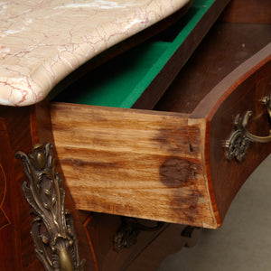 Rocco style rosewood commode with marble top ,France