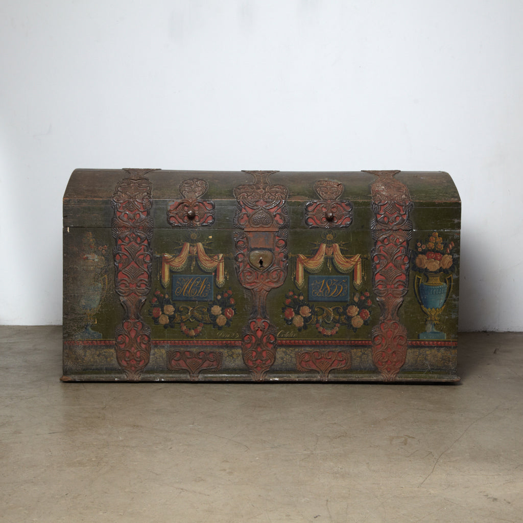 Danish Original Painted Dowry Chest Circa 1835