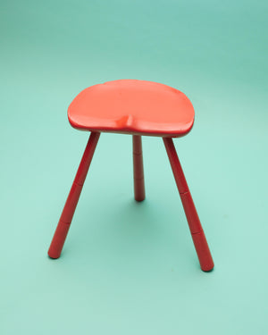 Vintage Swedish Orange Painted Three Legged Stool
