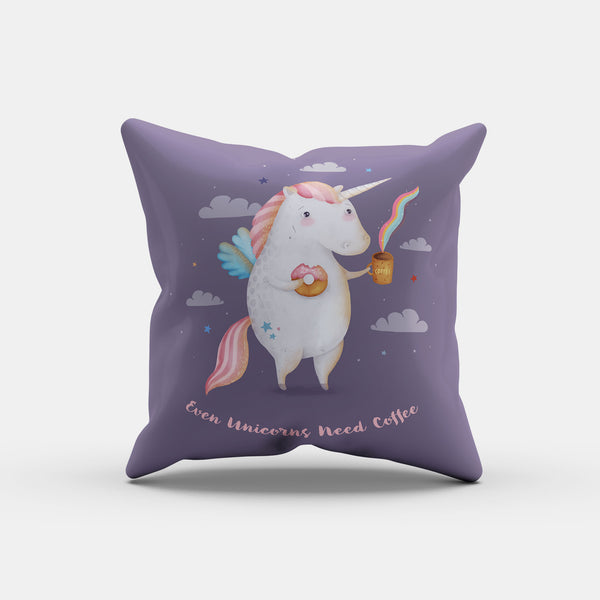 Unicorns Need Coffee Pillow - LiterarySwag