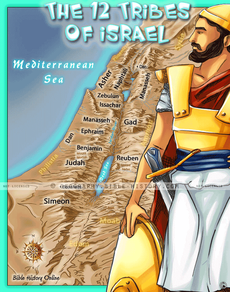 Twelve Tribes of Israel - Topo Color Map (Hi-Res. Download) 1-Year License