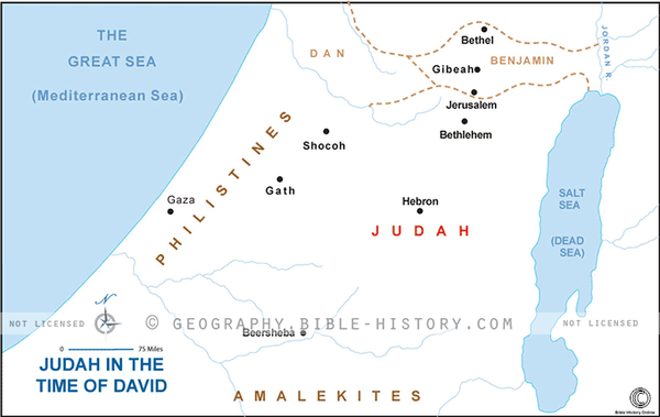 Judah in the Time of David - Basic Map (Hi-Res. Download) 1-Year License