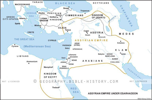 II Kings Assyrian Empire Under Esarhaddon - Basic Map (Hi-Res. Download) 1-Year License