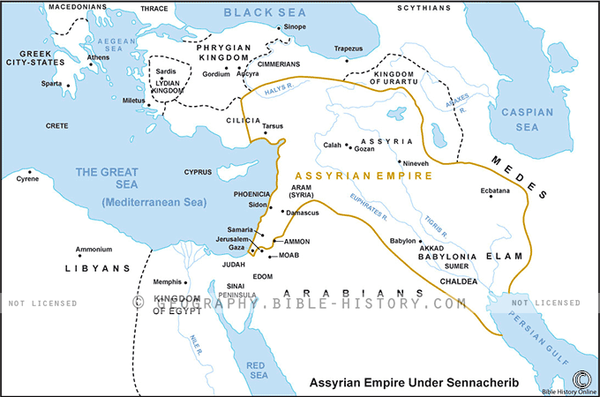 Assyrian Empire Under Sennacherib - Basic Map (Hi-Res. Download) 1-Year License