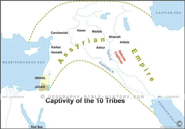 Captivity of the 10 Tribes - Basic Map (Hi-Res. Download) 1-Year License