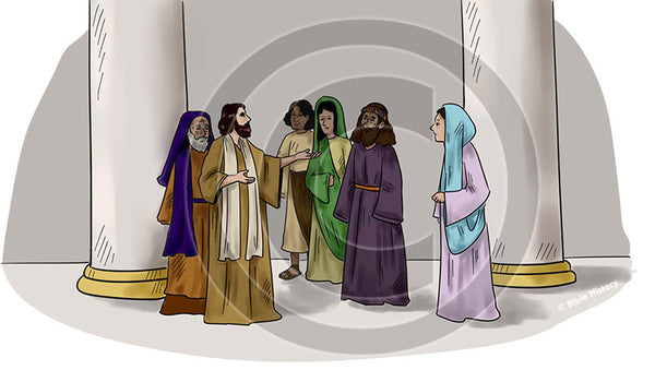 Jesus in the Temple - Bible Illustration (Hi-Res. Download) 1-Year License