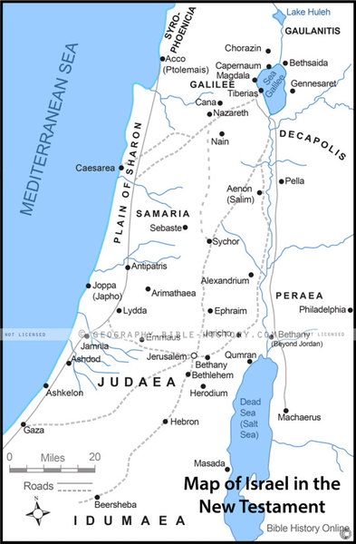 Israel in the New Testament - Basic Map (Hi-Res. Download) 1-Year License