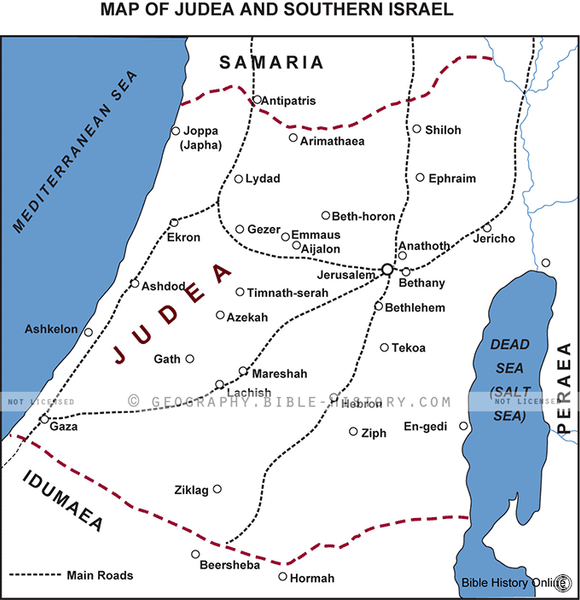 Judea and Southern Israel - Basic Map (Hi-Res. Download) 1-Year License