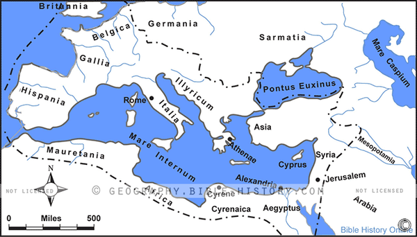 Roman Empire in the Time of Jesus - Basic Map (Hi-Res. Download) 1-Year License