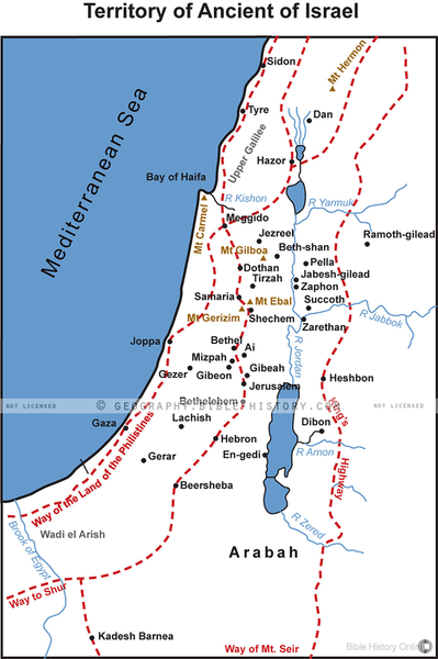 Territory of Ancient of Israel - Basic Map (Hi-Res. Download) 1-Year License