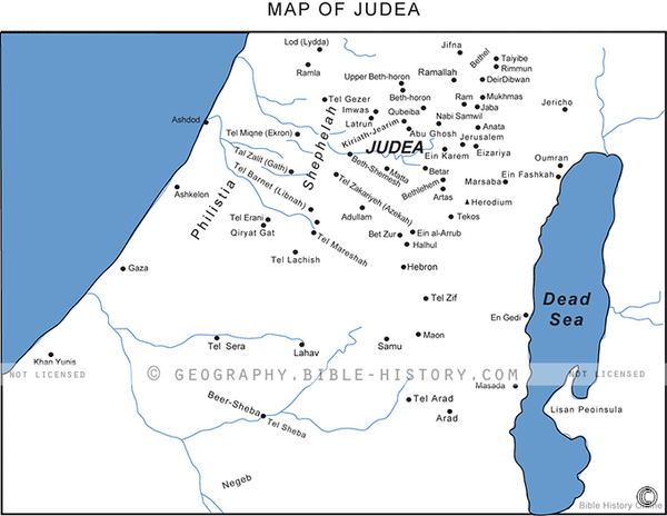 Judea in the Old Testament - Basic Map (Hi-Res. Download) 1-Year License