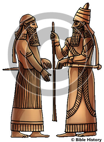 Sargon II with Staff in Hand and with Crown Prince - Bible Illustration (Hi-Res. Download) 1-Year License