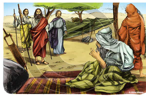 Abraham's Three Visitors - Bible Illustration (Hi-Res. Download) 1-Year License