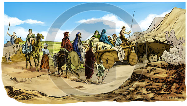 Abram's Family Leaving Ur - Bible Illustration (Hi-Res. Download) 1-Year License