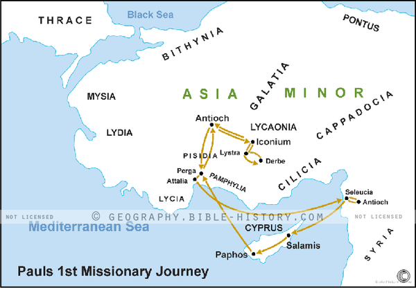 Paul's 1st Missionary Journey - Basic Map (Hi-Res. Download) 1-Year License
