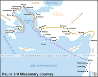 Paul's 3rd Missionary Journey - Basic Map (Hi-Res. Download) 1-Year License