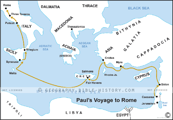 Paul's Voyage to Rome - Basic Map (Hi-Res. Download) 1-Year License