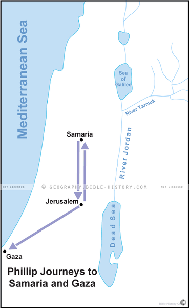 Phillip Journeys to Samaria and Gaza - Basic Map (Hi-Res. Download) 1-Year License