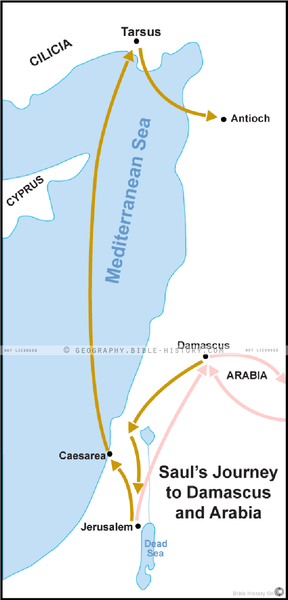 Saul's Journey to Damascus and Arabia - Basic Map (Hi-Res. Download) 1-Year License